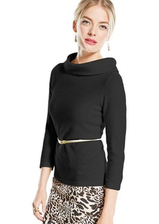 Charter Club Petite Cashmere Three-Quarter-Sleeve Cowl-Neck Sweater