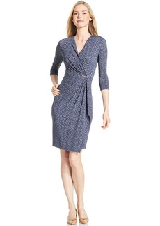 Charter Club Petite Chevron-Print Faux-Wrap Dress