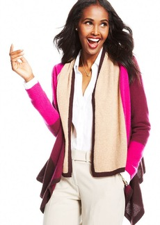 Charter Club Petite Colorblocked Draped Cashmere Cardigan