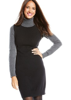 Charter Club Petite Colorblocked Turtleneck Cashmere Sweaterdress