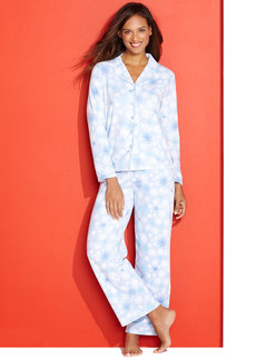 Charter Club Fleece Notch Collar Top and Pajama Pants Set
