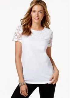 Charter Club Petite Crochet-Lace Yoke Top, Only at Macy's
