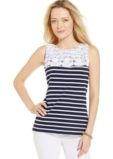 Charter Club Petite Crochet Striped Tank Top