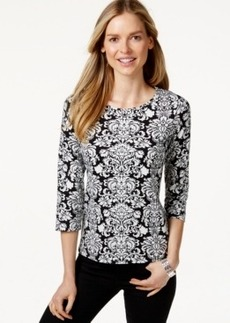 Charter Club Petite Damask-Print Top, Only at Macy's