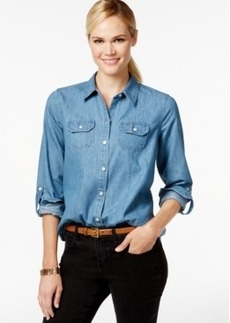 Charter Club Petite Denim Button-Down Shirt, Only at Macy's