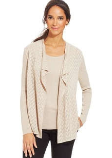 Charter Club Petite Diamond-Cutout Metallic Open-Front 2-fer Cardigan