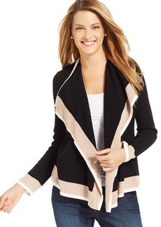 Charter Club Petite Draped Open-Front Cardigan