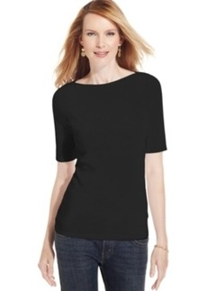 Charter Club Petite Elbow-Sleeve Boat-Neck Pima Cotton Tee