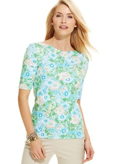 Charter Club Petite Elbow-Sleeve Floral-Print Pima Cotton Tee