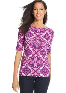 Charter Club Petite Elbow-Sleeve Printed Top