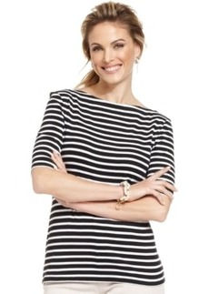 Charter Club Petite Elbow Sleeve Striped Boat-Neck Top