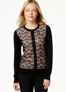 Charter Club Petite Embellished Lace-Detail Cardigan, Only at Macy's