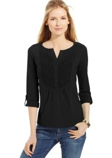 Charter Club Petite Embroidered-Bib Roll-Tab Top, Only at Macy's