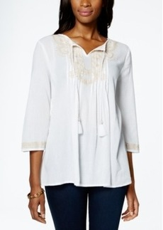 Charter Club Petite Embroidered Peasant Top, Only at Macy's