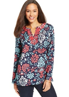 Charter Club Petite Embroidered Printed Linen Tunic