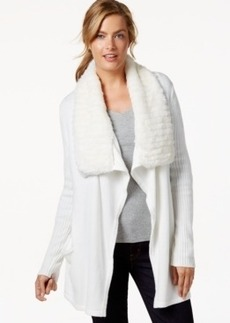 Charter Club Petite Faux-Fur-Collar Cardigan, Only at Macy's