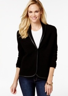 Charter Club Petite Faux-Leather Trim Blazer, Only at Macy's