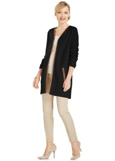 Charter Club Petite Faux-Leather Trim Cardigan, Only at Macy's