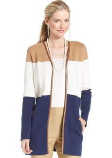 Charter Club Petite Faux-Leather-Trim Colorblocked Cardigan