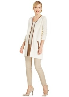 Charter Club Petite Faux-Leather Trim Open Cardigan, Only at Macy's