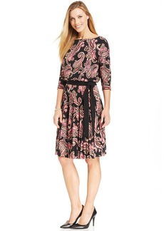 Charter Club Floral Pleated Tie Dress