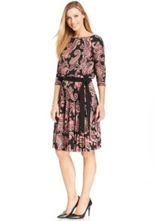 Charter Club Petite Floral Pleated Tie Dress