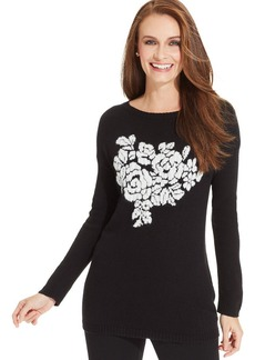 Charter Club Floral-Print Tunic Sweater
