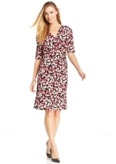 Charter Club Petite Flower Confetti Wrap Dress
