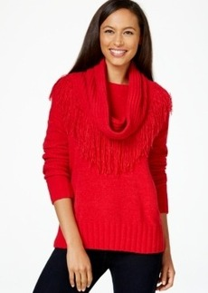 Charter Club Petite Fringed Detachable-Collar Sweater, Only at Macy's