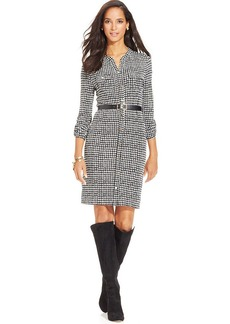 Charter Club Petite Houndstooth-Print Belted Dress