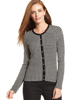 Charter Club Petite Houndstooth-Print Cardigan