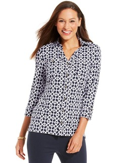 Charter Club Petite Iconic Print Bi-Color Top