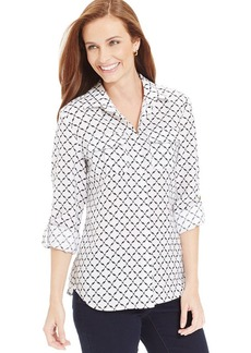 Charter Club Petite Iconic-Print Button-Down Top