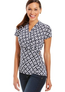 Charter Club Petite Iconic Print Crossover Hardware Top