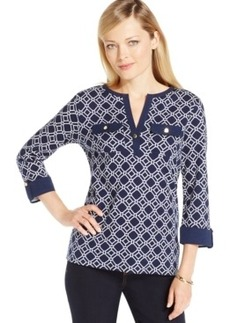 Charter Club Petite Iconic-Print Henley Top