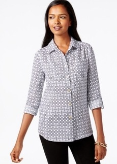 Charter Club Petite Iconic-Print Linen Shirt, Only at Macy's