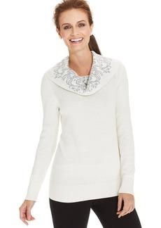 Charter Club Petite Jacquard-Trim Cowl-Neck Sweater