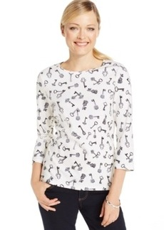 Charter Club Petite Key-Print Crew-Neck Top