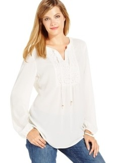 Charter Club Petite Lace-Bib Peasant Top, Only at Macy's