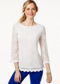 Charter Club Petite Lace Boat-Neck Top, Only at Macy's