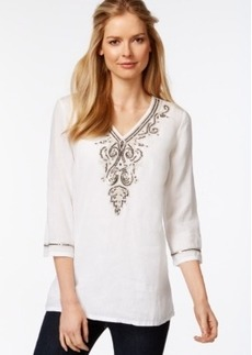 Charter Club Petite Linen Embellished Tunic, Only at Macy's