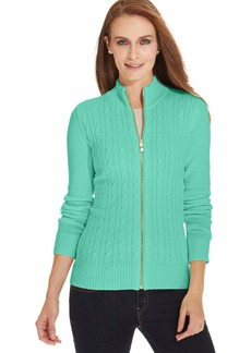 Charter Club Petite Long-Sleeve Cable-Knit Zippered Cardigan