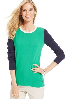 Charter Club Petite Long-Sleeve Colorblocked Sweater