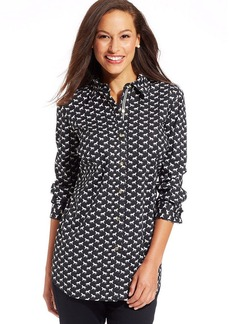 Charter Club Petite Long-Sleeve Pony-Print Shirt