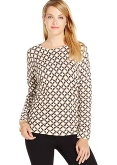 Charter Club Petite Long-Sleeve Printed Top, Only at Macy's