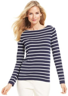Charter Club Petite Long-Sleeve Striped Sweater