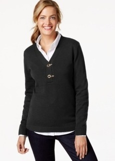 Charter Club Petite Long-Sleeve V-Neck Sweater, Only at Macy's