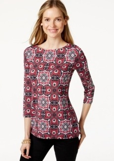 Charter Club Petite Medallion-Print Boat-Neck Top, Only at Macy's