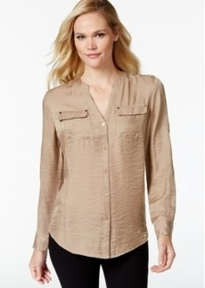 Charter Club Petite Metallic Textured Blouse, Only at Macy's