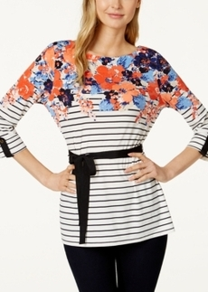 Charter Club Floral-Stripe Belted Tunic, Only at Macy's